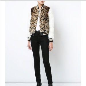 1d579cdfa MOTHER leopard faux fur baseball bomber jacket XS NWT